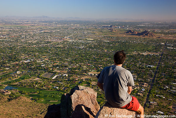 Hiking on Camelback Mountain, Phoenix, Arizona. (model released)