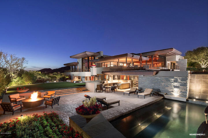 Contemporary house of steel & wood on rare hillside flat Paradise Valley grounds asking a whopping $7.5M 12