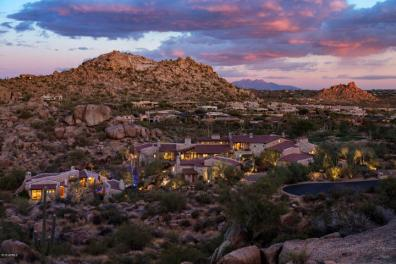Estancia Scottsdale Southwestern adobe-style compound set amongst boulders to sell at auction